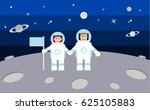 two astronauts holding hands | Shutterstock .eps vector #625105883