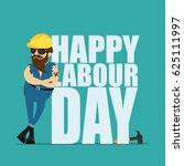 worker man in a yellow... | Shutterstock .eps vector #625111997