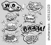 black and white comic speech...   Shutterstock .eps vector #625112123