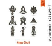 diwali. indian festival icons.... | Shutterstock .eps vector #625119947