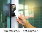 close up hand inserting keycard ... | Shutterstock . vector #625132637