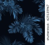 blue indigo tropical pattern... | Shutterstock . vector #625135967