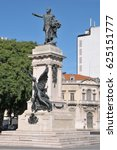 Small photo of LISBON, PORTUGAL - OCTOBER 02, 2010: Sculpture in the square of the Duke of Saldanha