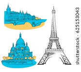 paris france colored landmarks  ... | Shutterstock .eps vector #625153043