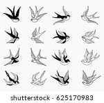 Stock vector vector swallow set 625170983