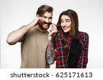 man making funny faces playing... | Shutterstock . vector #625171613