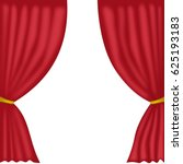 red curtains isolated on white | Shutterstock . vector #625193183
