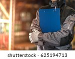 warehouse worker with blue...   Shutterstock . vector #625194713
