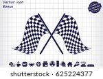 checkered flags icon vector. | Shutterstock .eps vector #625224377