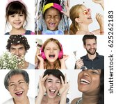 collage of people smiling... | Shutterstock . vector #625262183