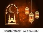ramadan greeting card on orange ... | Shutterstock .eps vector #625263887