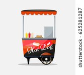 hot dog cart kiosk on wheels ... | Shutterstock .eps vector #625281287