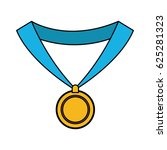 gold medal with blue ribbon... | Shutterstock .eps vector #625281323