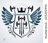 heraldic coat of arms  vintage... | Shutterstock . vector #625292993