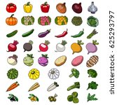 vector icons of vegetables.... | Shutterstock .eps vector #625293797