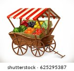 fresh produce market. cart with ... | Shutterstock .eps vector #625295387
