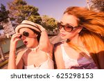 group of girls in convertible... | Shutterstock . vector #625298153