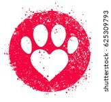 vector paw heart. isolated...   Shutterstock .eps vector #625309793