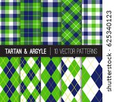 navy and green argyle  tartan... | Shutterstock .eps vector #625340123
