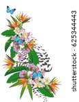 summer background with tropical ... | Shutterstock .eps vector #625344443