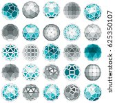 set of low poly spherical... | Shutterstock . vector #625350107