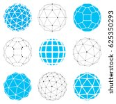 set of low poly spherical... | Shutterstock . vector #625350293