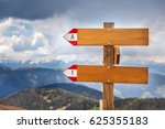 empty wooden signpost in the... | Shutterstock . vector #625355183