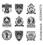 set of boxing emblems  badges ... | Shutterstock . vector #625394573