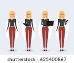 pretty blond girl holding... | Shutterstock .eps vector #625400867