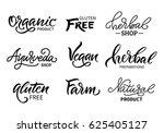 set of  logos  labels. organic... | Shutterstock .eps vector #625405127