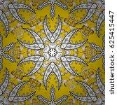 white pattern on yellow...   Shutterstock . vector #625415447