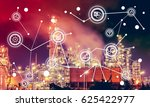 oil refinery at twilight with... | Shutterstock . vector #625422977
