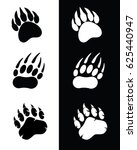 vector bear paw graphic set | Shutterstock .eps vector #625440947