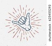 vintage surfing logo  emblem ... | Shutterstock . vector #625455293