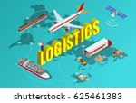 global logistics network flat... | Shutterstock . vector #625461383