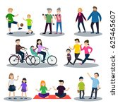 sport and healthy family set... | Shutterstock .eps vector #625465607
