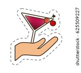 hand holding glass cup cocktail ...   Shutterstock .eps vector #625509227