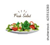 delicious fresh vegetable salad | Shutterstock .eps vector #625513283