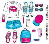 a set of women's clothes.... | Shutterstock .eps vector #625523567