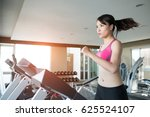 woman run on treadmill in the... | Shutterstock . vector #625524107