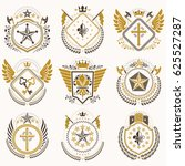 heraldic emblems with wings... | Shutterstock . vector #625527287
