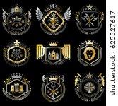 collection of heraldic... | Shutterstock . vector #625527617
