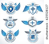 set of  vintage emblems created ... | Shutterstock . vector #625528127