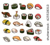 sushi objects japanese food  | Shutterstock .eps vector #625528313