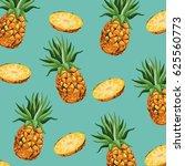 pineapple fruit fresh seamless... | Shutterstock .eps vector #625560773