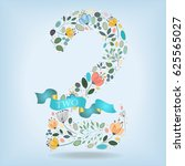 floral number two. watercolor... | Shutterstock .eps vector #625565027