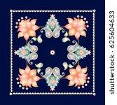 floral paisley pattern on dark... | Shutterstock .eps vector #625604633