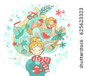 a sweet rosy dreaming girl with ...   Shutterstock . vector #625623323