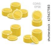 stacks of golden coins. vector... | Shutterstock .eps vector #625627583