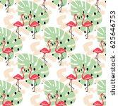 pink flamingo birds seamless... | Shutterstock .eps vector #625646753